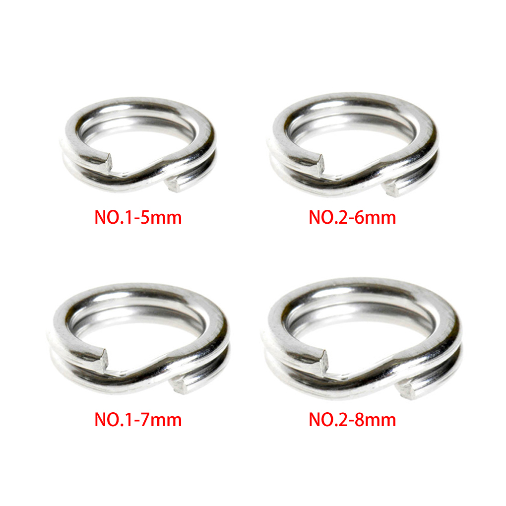 High Quality 4 Sizes 5 6 7 8mm Diameter Lure Accessories 50Pcs Fishing Solid Stainless Steel Snap Split Ring Lure Tackle