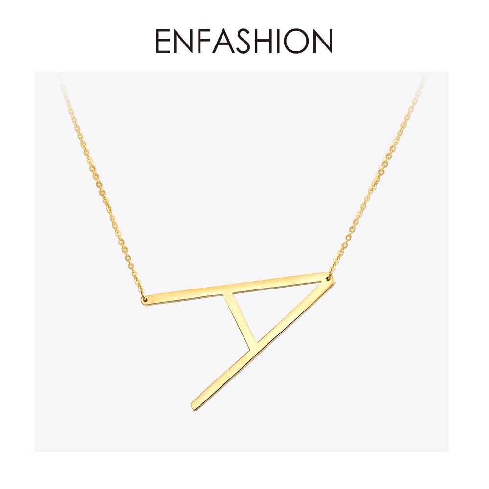 Kalung Reka bentuk EnFashion Alphabet Kalung Loket Awal Warna Emas - Perhiasan fesyen - Foto 1