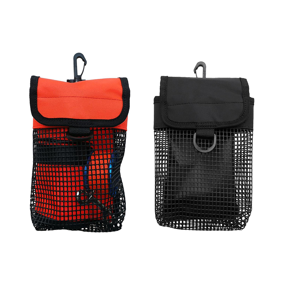 2pcs Lightweight Mesh Gear Bag & Swivel Clip, D Ring For Underwater Scuba Diving Reel & Smb Safety Marker Buoy Accessories