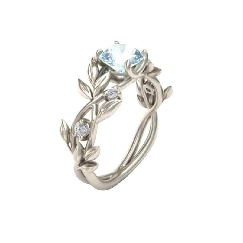 Top Quality Princess Women's Silver Floral Transparent Crystal Flower Vine Leaf Blue Gem Created Silver Crystal Jewelry Ring