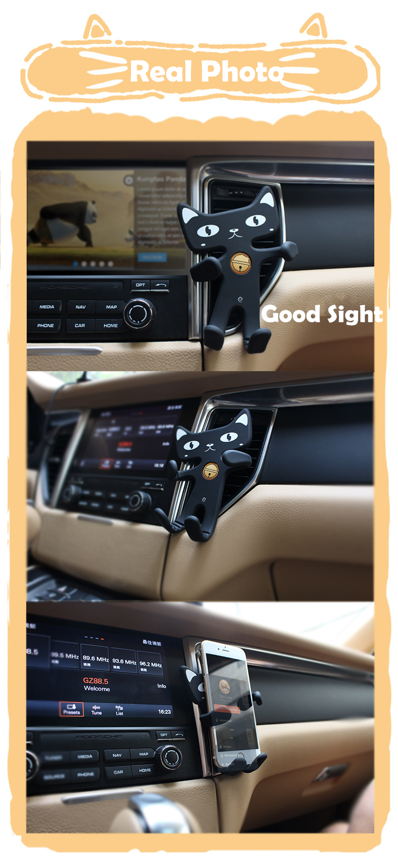 Flexible Soft Rubber Cat Phone Holder for Car and Desk