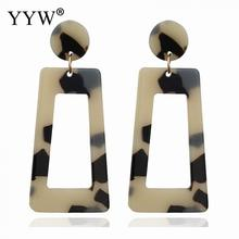 2019 Fashion Jewelry Acrylic Drop Earrings Wholesale Brincos Resin Dangle For Women Geometry Square Tortoiseshell