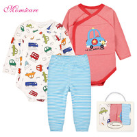 3 12M Newborn Baby Clothing Set Baby Boy Girl Spring Clothing 100% Cotton Cartoon Underwear Baby's Sets,Gift Box