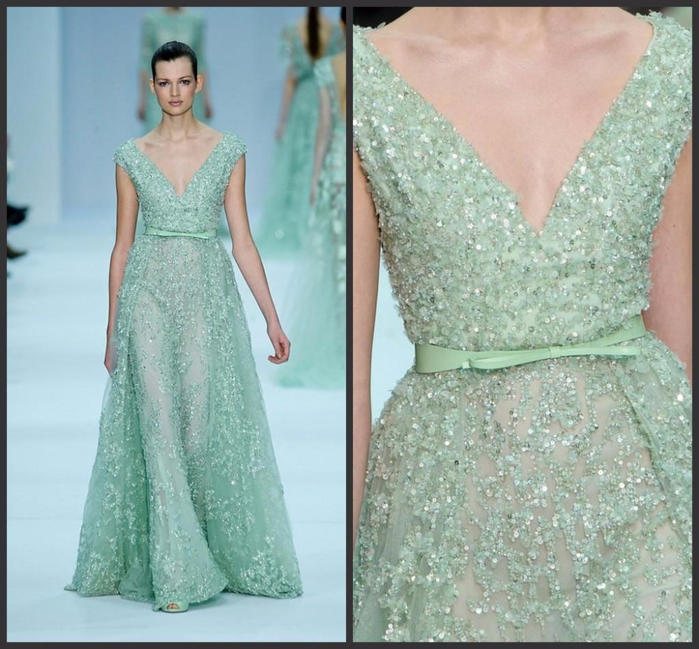 Latest Evening Gown Designs Glitter Sequined Elie Saab Dresses Cap ...