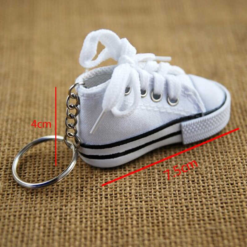 ... Mini Hip Top Canvas Sneaker Tennis Shoe Keychain Women Blue Pink Black  White Sports Shoes Keyring ... d7f5bb0f87