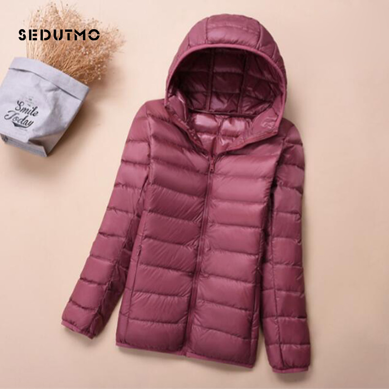 SEDUTMO 2018 Winter Plus Size 3XL Womens   Down   Jackets Short Ultra Light Duck   Down     Coat   Autumn Warm Hooded Puffer Jacket ED152