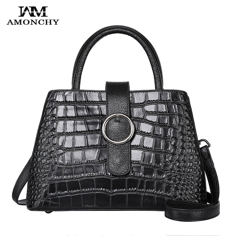 AMONCHY New Fashion Alligator Women Leather Tote Bags First Layer Cow Leather Shoulder Messenger Bags Famous Brand Lady Handbag 2016 new fashion women s messenger bags famous brand handbag leather lady shoulder bags clutches diagonal mochila casual tote