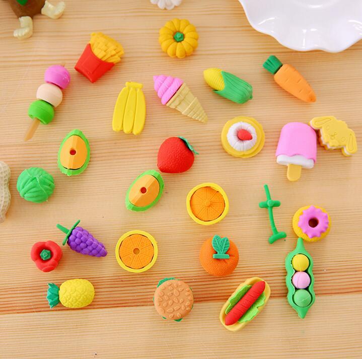 1 Opp Bag/set New Cute Kawaii Peanut Fruit Vegetable Rubber Eraser Lovely Cartoon Erasers For Kids Student School Supplies