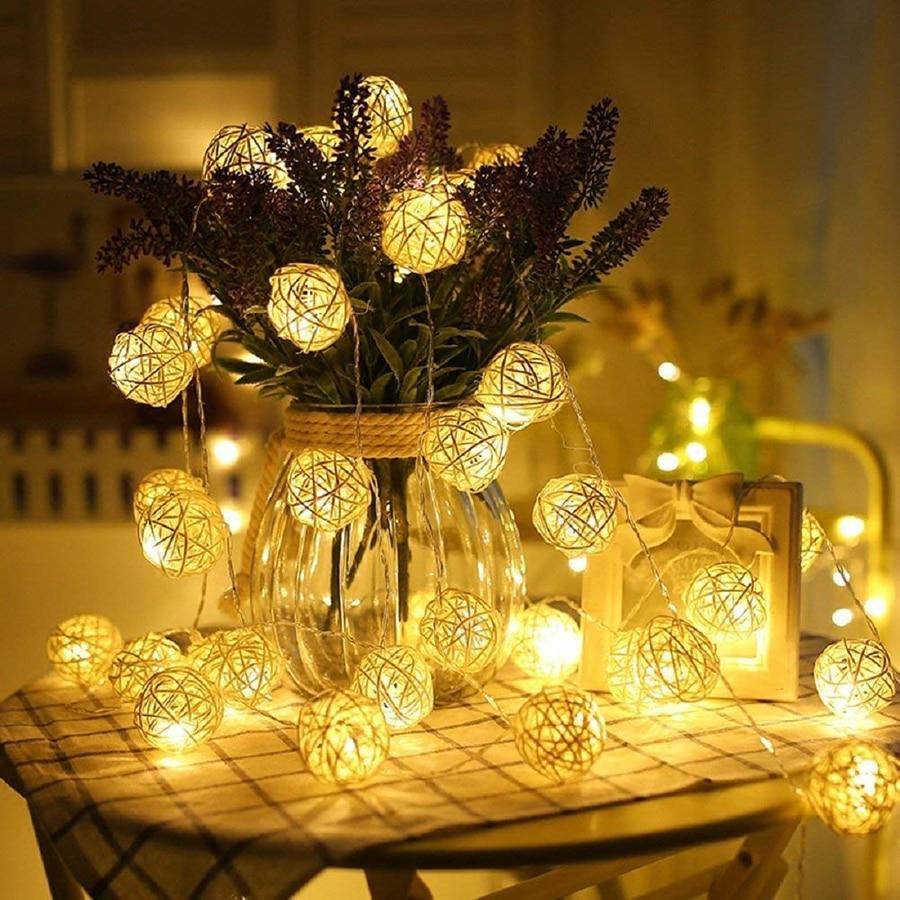 1M 10leds 2M 20leds Warm White Rattan Ball Led String Light Holiday Christmas New Year Wedding Party Garland Decoration Lights