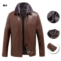 Men's PU leather male elderly collar with velvet thickening cotton padded clothes leisure imitation sheepskin coat jackets men