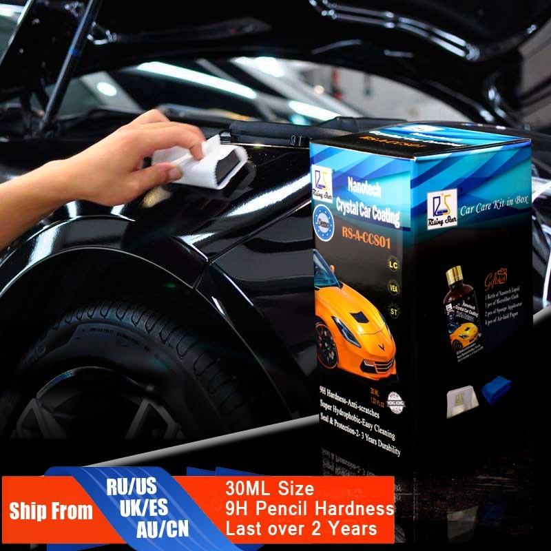 Aufgehender Stern RS-A-CCS01 Flüssige Glas 9 H Nano Hydrophobe Keramikbeschichtung auto Care Wax Kristall Auto Beschichtung 30 Ml Kit für Demo Test