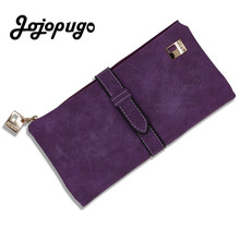 Luxury Purple Drawstring Nubuck PU Leather Long Women's Wallet