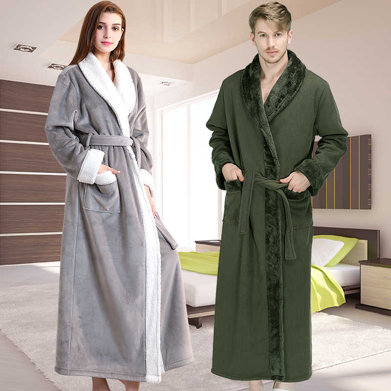 a2624dee67 New Women Thermal Luxury Thick Fleece Extra Long Bath Robe Winter Sexy Fur  Bathrobe Warm Flannel