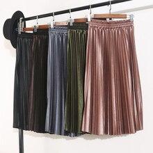 Юбки женские осень и зима высокой талией тощий женский бархат юбка плиссе юбки плиссированные Длинные Юбка S9820