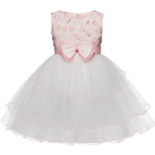 Evening Ball Gown Dinner Dress For Little Girl 3-10 Years Flower Decoration Outfits Formal Occasion Clothing Christening Costume