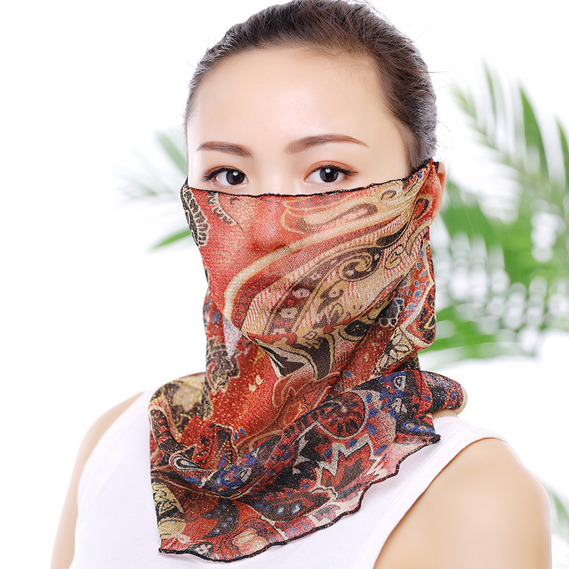 10pcs/Pack New Ladies Sunscreen Mask Lace Neck Scarf Summer Thin Section Breathable Veil Riding Cover Full Face Masks