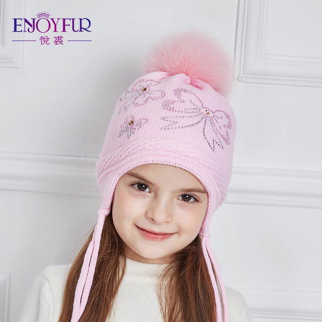 0cce3836a US $12.69 45% OFF|ENJOYFUR Rhinestones Bow Knot Children Winter Hats Real  Fox Fur Pompom Knitted Hat Girl Beautiful Pink Girls Beanies Autumn Caps-in  ...