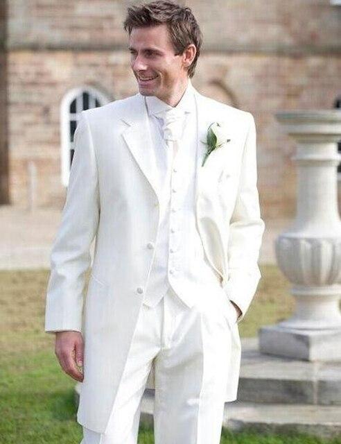 2016 por encargo blanca a la moda masculino esmoquin de la boda trajes novio frac por encargo vestido de novia trajes