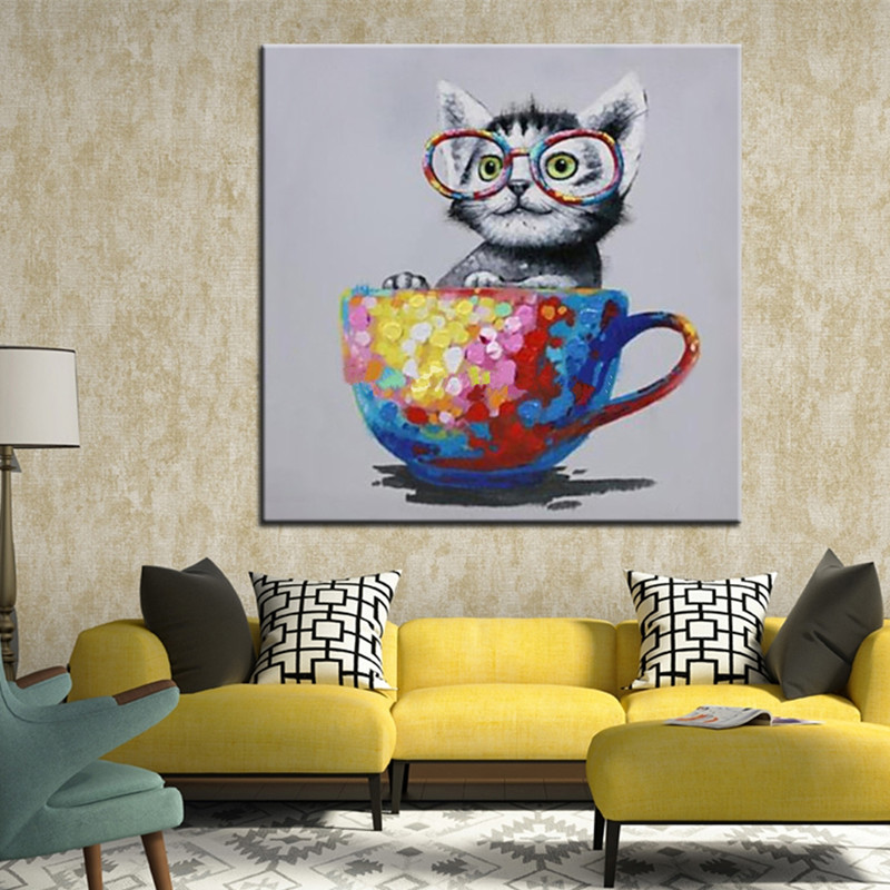 Handmade wall oil painting of lovely cat sitting in a bowl cartoon cat animal oil paintings for living room decoration