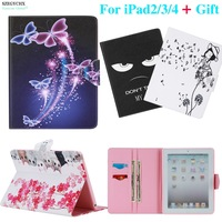 For IPad234 9 7 Inch Case Cute Animal Cartoon Pattern Wallet Flip PU Leather Tablet Shell