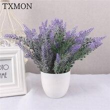 One Set Lavender Flower With White Vase For Home Wedding Decoration Party Garden Decor Fake Flower Bonsai