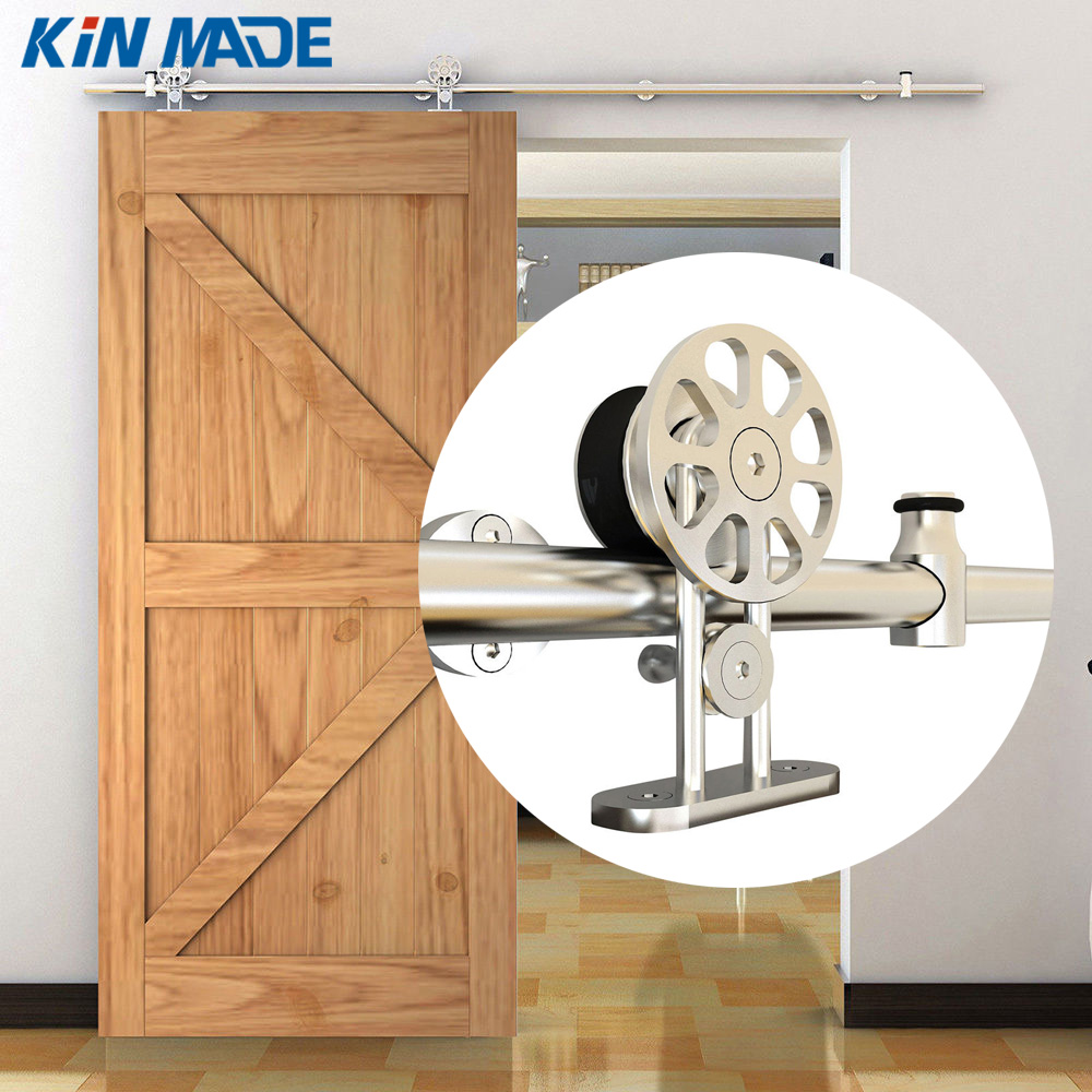 KIN MADE MM-10F stainless steel sliding barn wood door hardware top mounted hanger track 3000 to 4880 mm european style steel top mounted double head twin roller sliding barn wood door hardware barn door sliding track