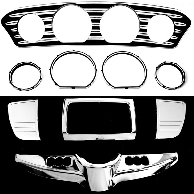 US $136 99 |Shallow Cut Inner Fairing Dash&Gauge Trim&Chrome Switch Panel  For Harley Touring Electra Street Glide FLH/T FLHX 2014 2017-in Covers &