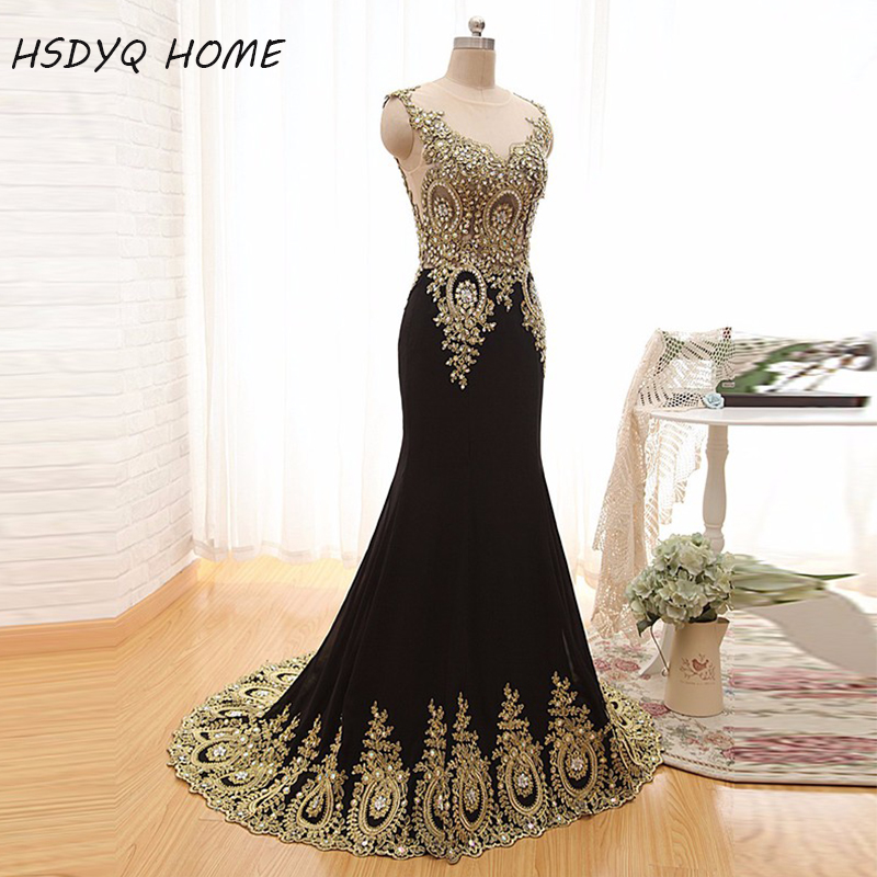 HSDYQ HOME 2015 Luxury Sheer Neck Black Formal Evening   Prom     Dresses   Appliques Celebrity Pageant Wedding Party Gowns India Arabic