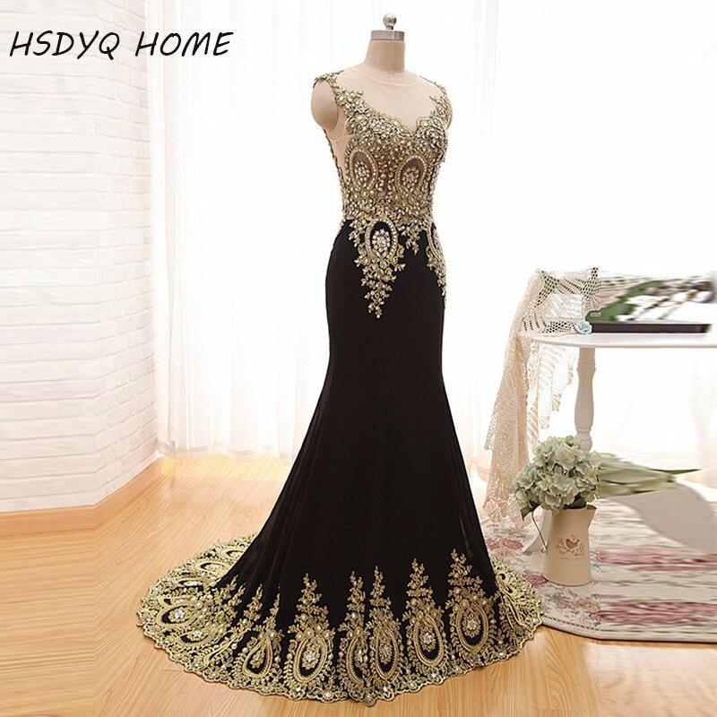 HSDYQ accueil 2015 luxe transparent cou noir formel soirée robes de bal Appliques célébrité Pageant robes de mariée inde arabe