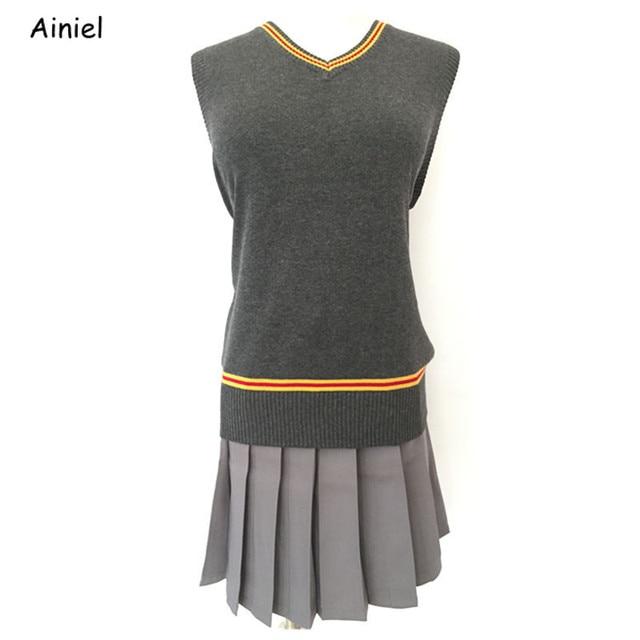 Costume Halloween Hermione.Magic School Hermione Vest And Skirt Suit Halloween Gryffindor Cosplay Costume Student Uniforms Women Girls Sweater Vest Skirts