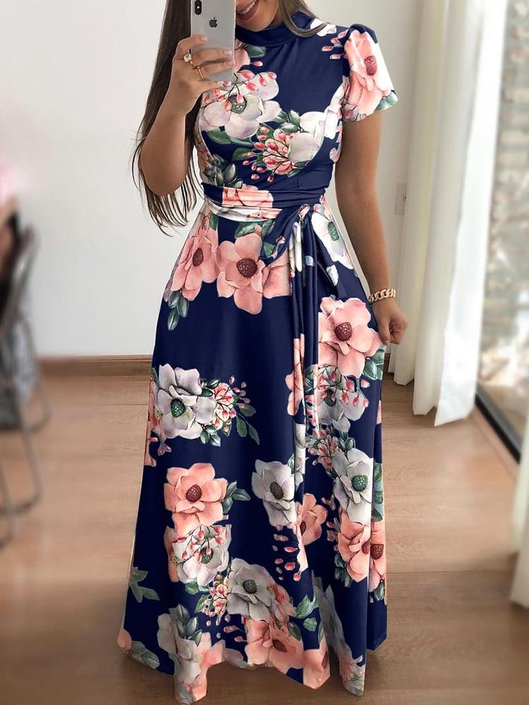 Elegant Casual Long Sleeve Boho Floral Print Maxi Turtleneck Dresses