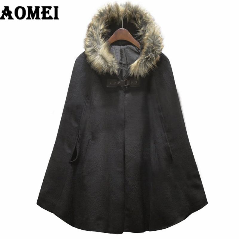 Новинка, модная женская Зимняя шерстяная теплая накидка, пончо, накидка, пальто, полушерстяная верхняя одежда с меховым капюшоном, верхняя одежда, свободное манто для женщин - Цвет: Черный