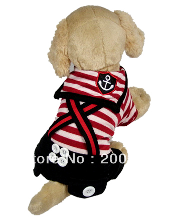 Wholesale New cute Sailor strap clothing for dog Free shipping dogs dress costumes