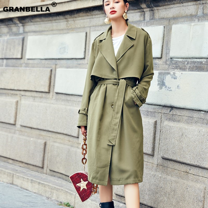 new spring fashion Casual women's green / red   Trench   Coat long Outerwear loose clothes for lady with belt