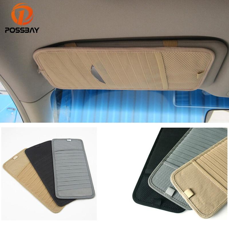 POSSBAY Car Sun Visor Glass Pen 12CDs DVD Card Case Multifunctional Storage Holder Clip Bag Auto Organizer Wallet Clip