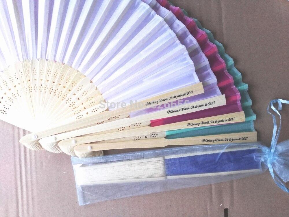 65 pcs lot personalized silk hand fan silk wedding fan with organza gift bag packing