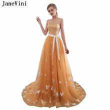 JaneVini Chic Gold Long Bridesmaid Dresses Strapless Lace Butterfly Pattern Prom  Dress Sweep Train 2018 Tulle A Line Party Gowns 34e932995f07