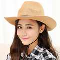 Fashion Summer Casual Unisex Beach Trilby Large Brim Jazz Cowboy Sun Hat Panama Hat Paper Straw Women Men Cap With Black Ribbon