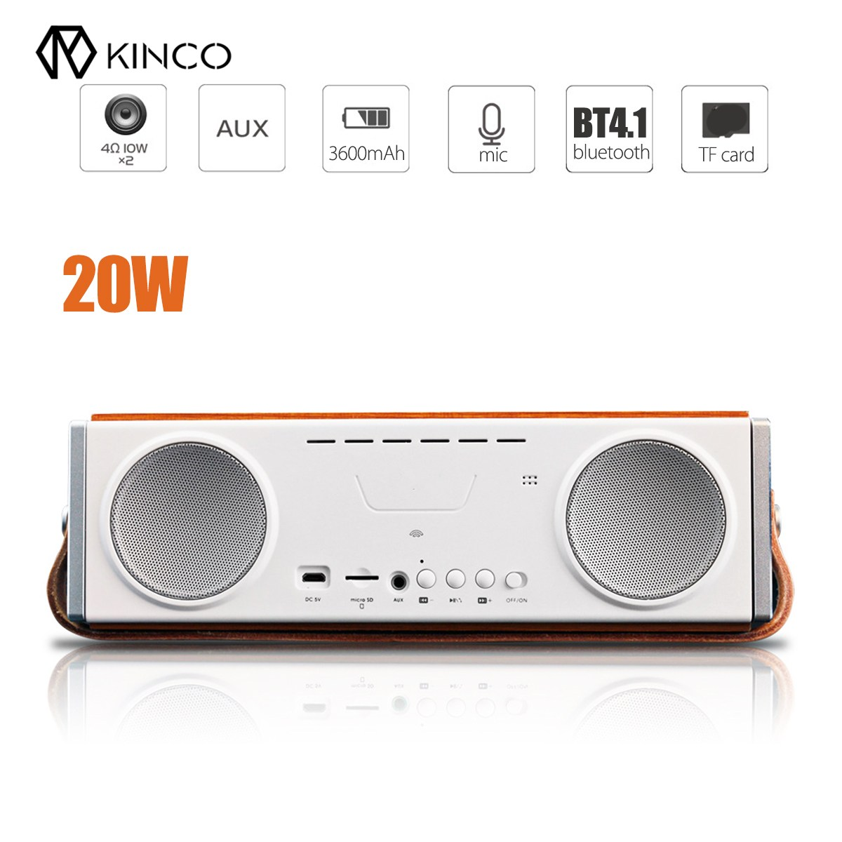 Kinco 20W Portable Wooden Bluetooth Wireless HiFi Dual Speaker Bass 4.1 Stereo Subwoofer Support Hifi TF USB SG a9 mini wireless bluetooth speaker w led hands free tf usb subwoofer loudspeakers portable 3 5mm mp3 stereo audio music player