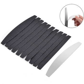 10pcs Black Replacement Sand Paper Nail File With Stainless Steel Handle Double-sided metal Buffer 100/180 Manicure Sanding - discount item  22% OFF Nail Art & Tools