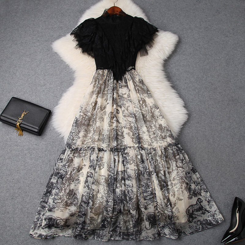 2019 NEW luxury spring Summer Lace long Dress women Clothing Elegant Ankle Length party dress Print