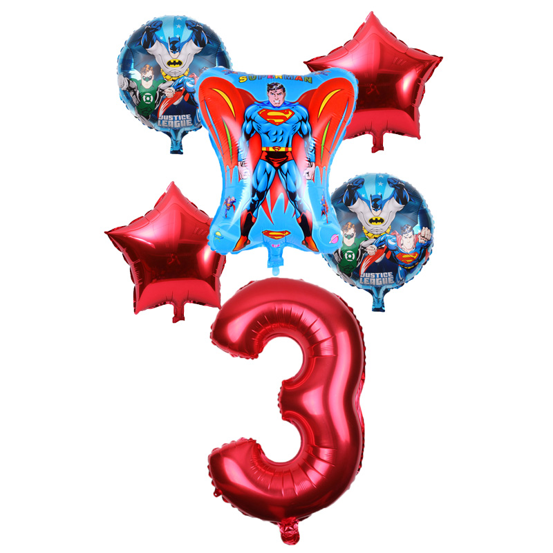 6 шт., алюминиевые шары с цифрами 32 дюйма и Бэтменом и Суперменом, детские игрушки для девочек и мальчиков на день рождения, подарок для детей,...