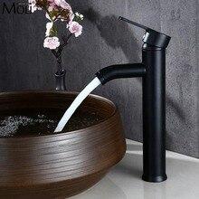 Высокий смеситель для ванной комнаты, смеситель для горячей и холодной воды, смеситель для раковины, смеситель для горячей и холодной воды, черный смеситель с одним отверстием ML1411