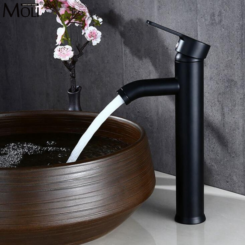 Tall Bathroom Faucet Hot And Cold Water Mixer Basin Sink Faucets Hot And Cold Water Mixer Tap Black Single Hole ML1411
