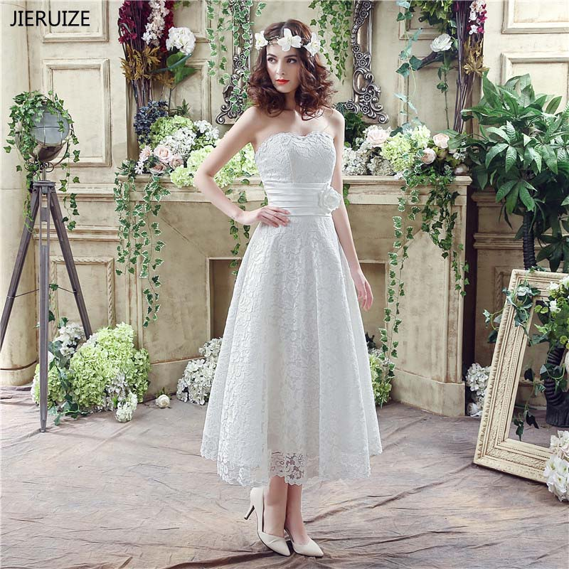 JIERUIZE White Lace Tea Length Wedding Dresses Boho Lace Up Back Sweetheart Beach Bridal Dresses trouwjurk