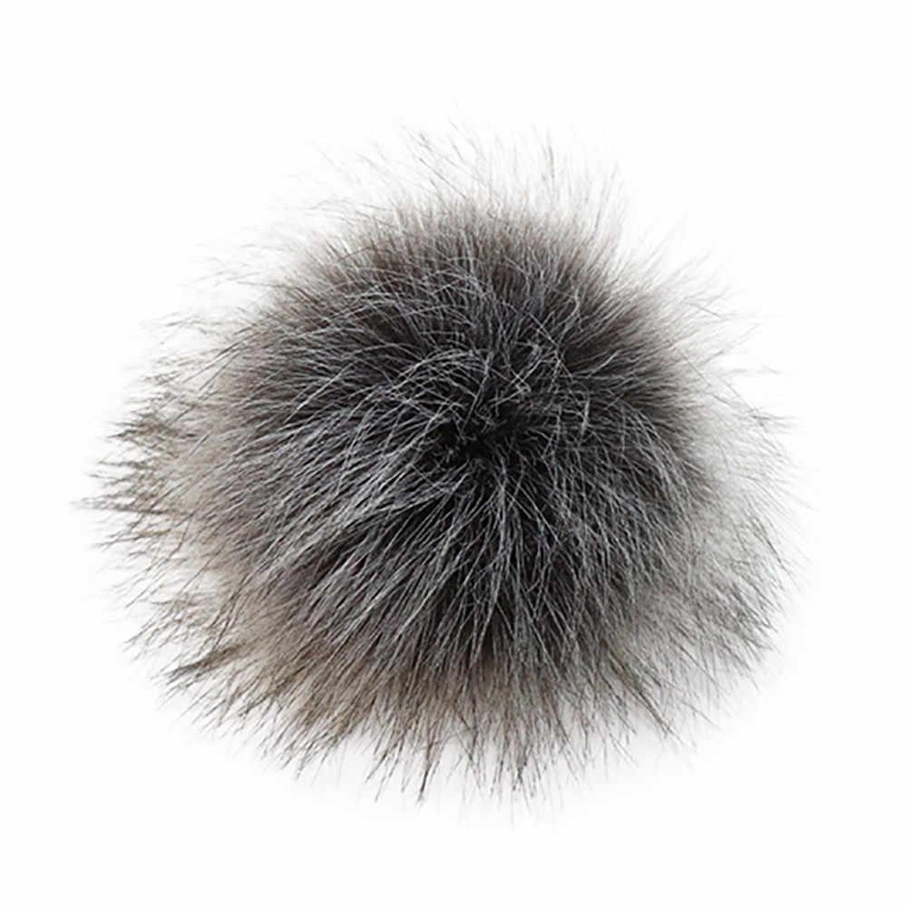 2019 nova 10 centímetros natural bola de pele de raposa Pom Pom fofo DIY hat Skullies Gorros de malha chapéu do inverno chapéu pompom acessórios sem fivela