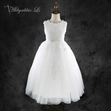 2016 Princess Lace Long Dress Girls Wedding Party White Formal Communion Gown Bridesmaid Tulle Kids Costume