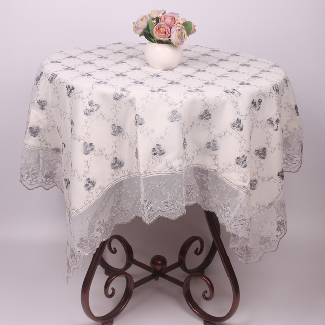 Curcya Luxury Light Grey Double Layer Flowers Embroidery Table Cloth Covers Vintage Polyester Lace Tablecloths For