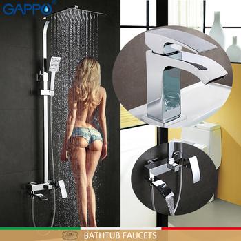Baterie GAPPO wanna wanna mixer wodospad prysznic krany baterie umywalkowe bateria umywalkowa bateria kuchenna opady deszczu prysznic zestaw tanie i dobre opinie Zimnej i Ciepłej G2407+G1007-1 Pojedynczy uchwyt podwójna kontrola ceramic Polerowane Współczesna Faucets