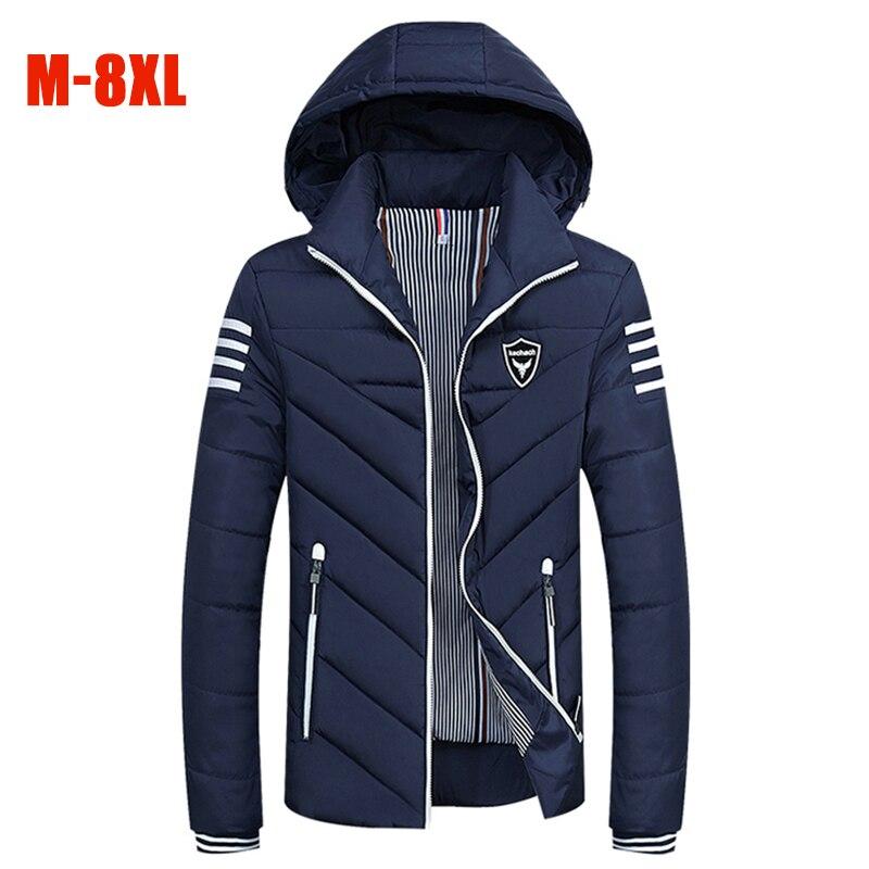 Fashion New M-8XL Plus Size Winter Jackets Men Hooded Warm Thick Parka Men Casual Striped 6XL 7X 8X Large Size Cotton Men Coats